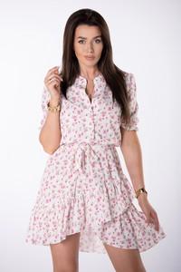 Różowa sukienka Ptakmoda.com mini z dekoltem w kształcie litery v z tkaniny