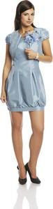Niebieska sukienka Fokus z okrągłym dekoltem bombka mini