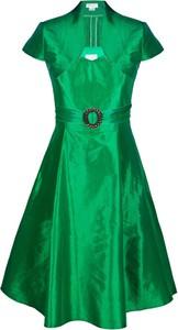 Sukienka Fokus z tiulu z kołnierzykiem z krótkim rękawem