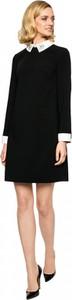 Czarna sukienka L'AF trapezowa z długim rękawem