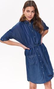 Niebieska sukienka Top Secret koszulowa w stylu casual mini