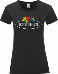 Czarny t-shirt Fruit Of The Loom z okrągłym dekoltem z bawełny z krótkim rękawem