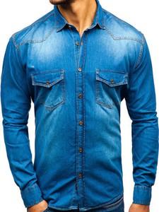 Niebieska koszula Denley z długim rękawem z jeansu w street stylu