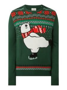 Sweter Montego z okrągłym dekoltem z nadrukiem