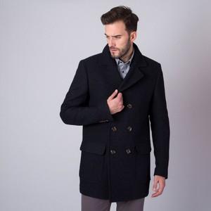 Czarny płaszcz męski Willsoor z wełny