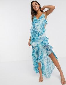 Sukienka Asos maxi z okrągłym dekoltem asymetryczna