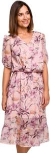 Różowa sukienka Style z dekoltem w kształcie litery v