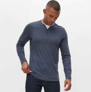 Niebieski t-shirt Reserved z długim rękawem z bawełny
