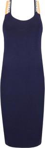 Sukienka Armani Jeans midi z okrągłym dekoltem