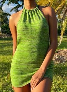 Zielona sukienka Cikelly z krótkim rękawem mini