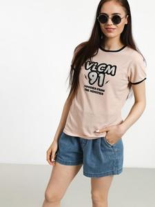Różowy t-shirt Volcom z okrągłym dekoltem z krótkim rękawem
