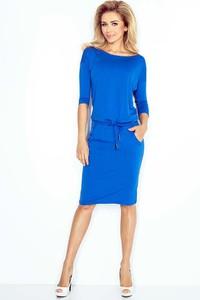 Niebieska sukienka NUMOCO z okrągłym dekoltem midi