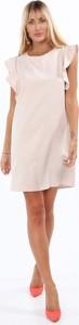 Sukienka Fasardi z tkaniny mini z krótkim rękawem