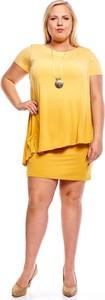 Żółta sukienka Fokus z okrągłym dekoltem oversize