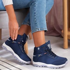 Niebieskie buty trekkingowe Royalfashion.pl z płaską podeszwą