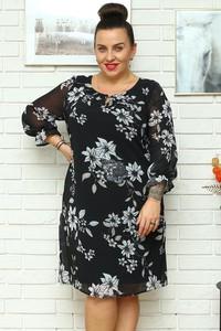 Czarna sukienka KARKO trapezowa z szyfonu mini
