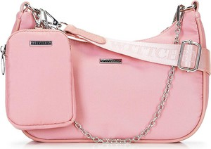 Różowa torebka Wittchen matowa w stylu glamour