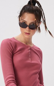 Różowa bluzka Sinsay w stylu casual z bawełny z długim rękawem