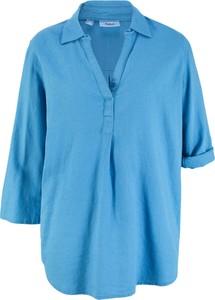 Bluzka bonprix bpc bonprix collection z kołnierzykiem z lnu w stylu casual