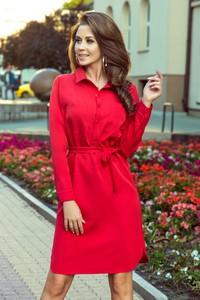 Czerwona sukienka NUMOCO mini koszulowa z długim rękawem