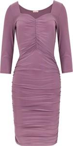 Różowa sukienka Makover z długim rękawem