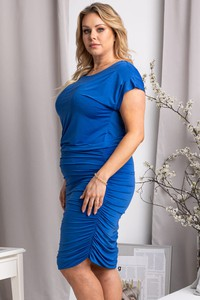 Niebieska sukienka KARKO z krótkim rękawem hiszpanka