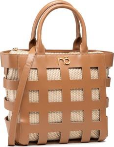 Brązowa torebka NOBO do ręki z nadrukiem w wakacyjnym stylu