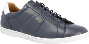 Buty sportowe BOSS Casual sznurowane ze skóry z płaską podeszwą