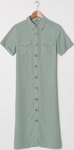 Zielona sukienka House midi z kołnierzykiem szmizjerka