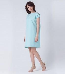 Miętowa sukienka butik-choice.pl z okrągłym dekoltem