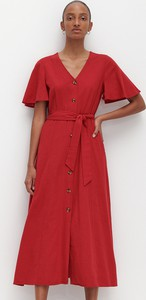 Czerwona sukienka Reserved w stylu casual szmizjerka maxi