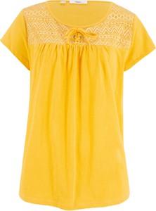 Złoty t-shirt bonprix bpc bonprix collection w stylu casual z krótkim rękawem