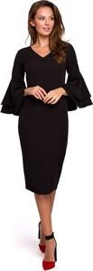 Sukienka Makover z dekoltem w kształcie litery v midi z długim rękawem
