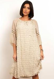 Sukienka Plus Size Fashion z długim rękawem w stylu casual prosta