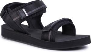 Czarne buty letnie męskie Lacoste na rzepy ze skóry ekologicznej