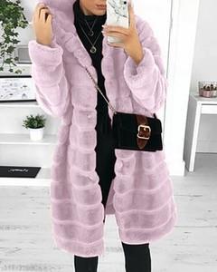 Kendallme Kieszonkowy pluszowy płaszcz z długim rękawem i kapturem kurtka różowy