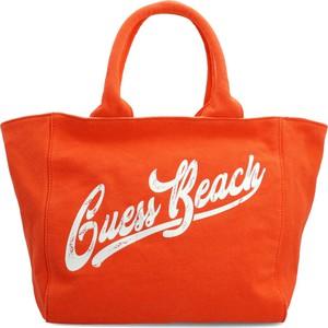 Pomarańczowa torebka Guess ze skóry duża na ramię
