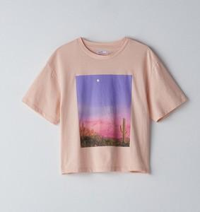 Różowy t-shirt Cropp z krótkim rękawem z okrągłym dekoltem