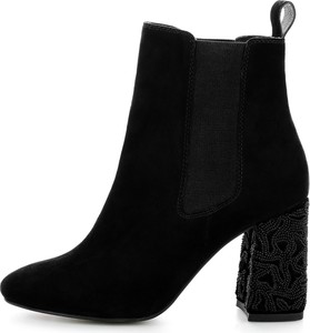 Czarne botki Prima Moda z zamszu na obcasie