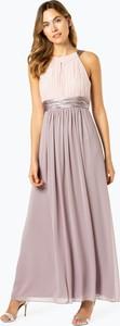 Różowa sukienka Marie Lund z dekoltem halter z szyfonu bez rękawów