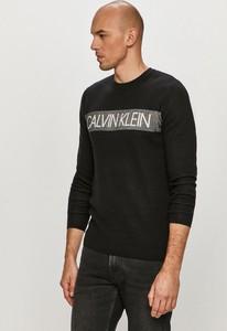 Czarny sweter Calvin Klein z okrągłym dekoltem z dzianiny