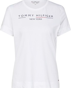 Bluzka Tommy Hilfiger z krótkim rękawem z tkaniny