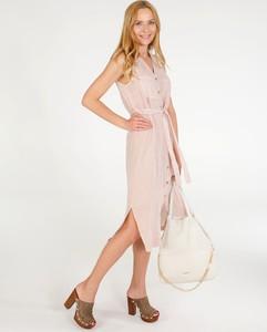 Sukienka Unisono z lnu z dekoltem w kształcie litery v bez rękawów