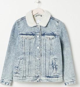 Niebieska kurtka Sinsay krótka z jeansu w stylu casual
