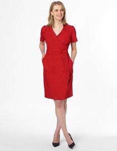 Czerwona sukienka MaxMara z krótkim rękawem z bawełny