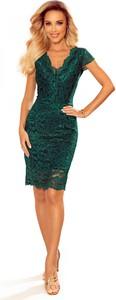 Zielona sukienka Ptakmoda.com z krótkim rękawem z dekoltem w kształcie litery v mini