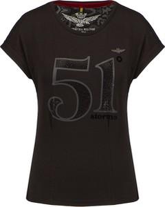 Czarny t-shirt Aeronautica Militare z okrągłym dekoltem w militarnym stylu z krótkim rękawem