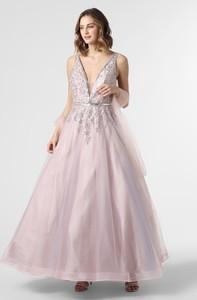 Sukienka Luxuar Fashion z dekoltem w kształcie litery v maxi na ramiączkach