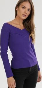 Fioletowa bluzka born2be z długim rękawem w stylu casual