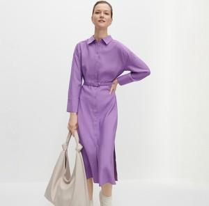 Fioletowa sukienka Reserved z kołnierzykiem z długim rękawem